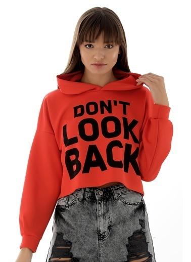 Emjey Don'T Look Back Baskılı Sweat Kırmızı